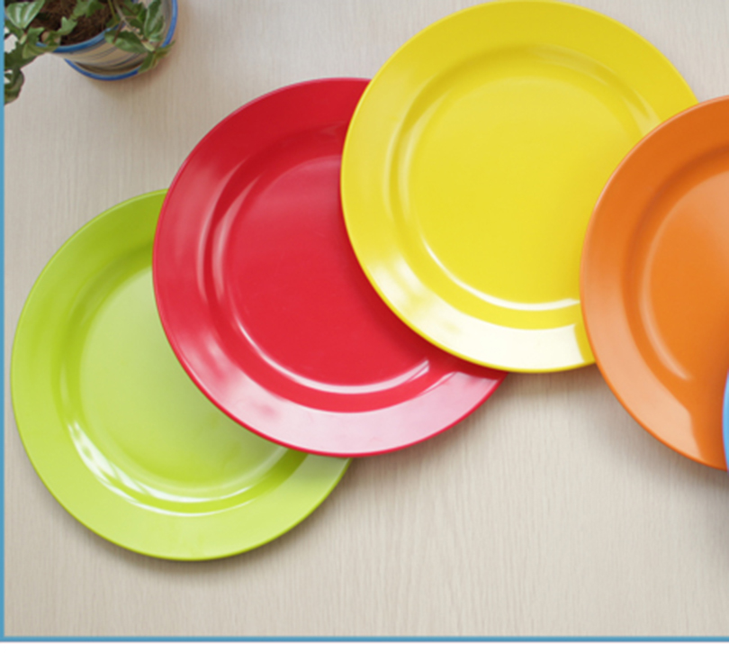 6pc melamine dinnerware set 9 round plates solid color buffet tray dessert salad sushi plastic dining dishs party table decor in dishes plates from home - Color Tray