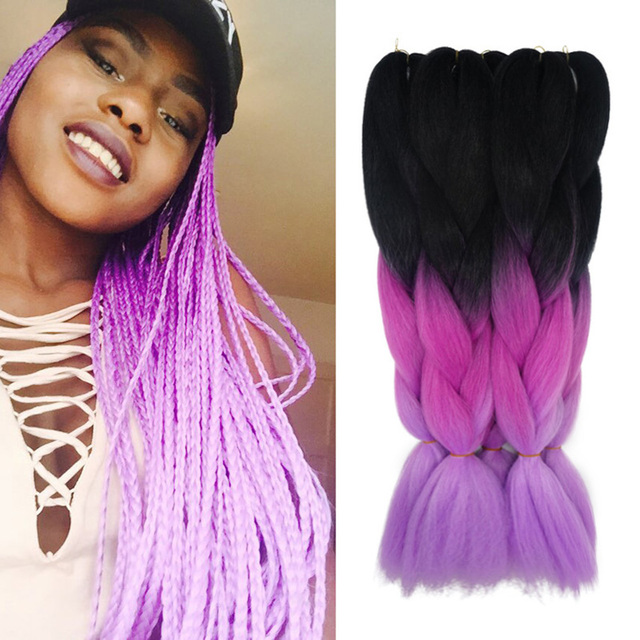 Purple Ombre Kanekalon Jumbo Braiding Hair Colors 24