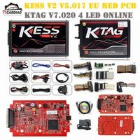 KESS V2 V5.017 Full Kit EU Red ECM Titanium Winols KTAG V7.020 4 LED Online Master Version ECU OBD car truck Ecu Chip Turning