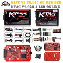KESS V2 V5.017 полный комплект ЕС красный ECM Титан Winols KTAG V7.020 4 светодиодный онлайн мастер-версия ЭБУ OBD автомобиля Грузовик ECU чип поворота