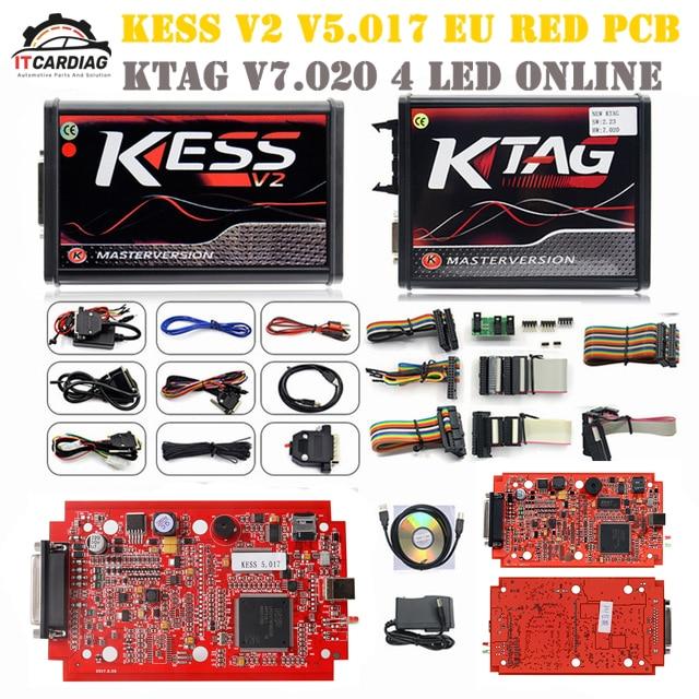 KESS V2 V5.017 Kit complet EU rouge ECM titane Winols KTAG V7.020 4 LED en ligne Version Master ECU OBD voiture camion Ecu puce tournant