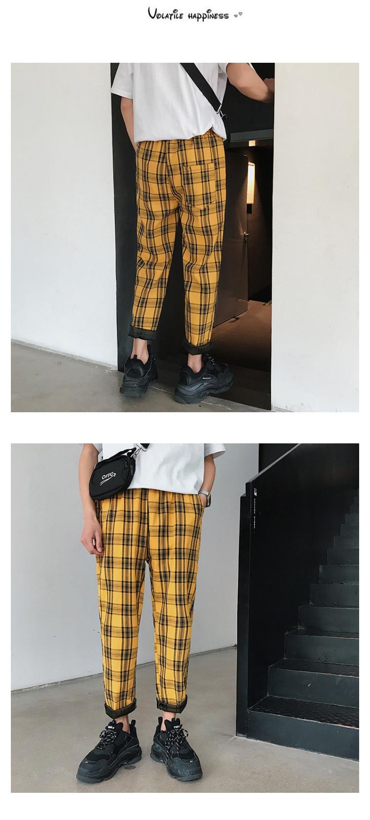 LAPPSTER Streetwear Yellow Plaid Pants Men Joggers 19 Man Casual Straight Harem Pants Men Korean Hip Hop Track Pants Plus Size 7