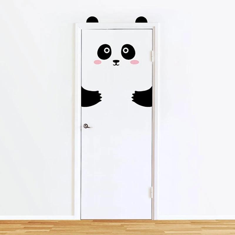autocollant animal panda chat mignon 10 types d autocollants pour porte en dessin anime stickers muraux pour decoration de chambre d enfant