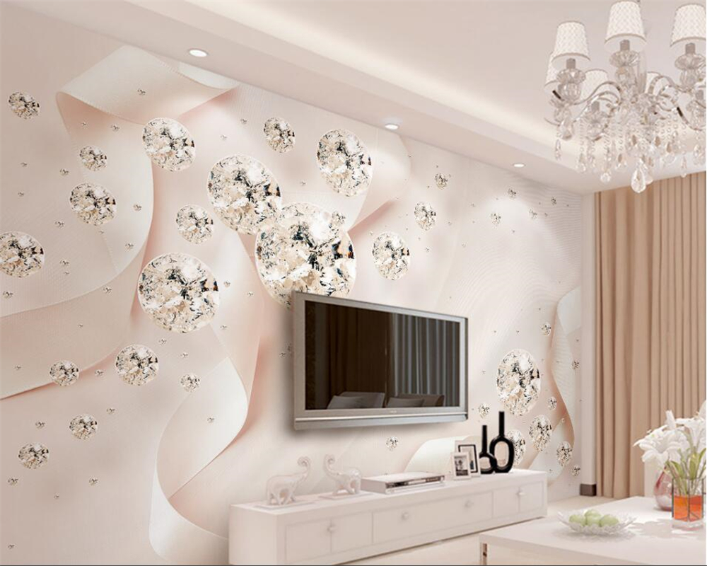 Beibehang 3d wallpaper Custom frescoes modern pink ribbon crystal ball 3d 3d jewelry TV background wall wallpaper for walls 3 d wallpaper for walls 3 d modern trdimensional geometry 4d tv background wall paper roll silver gray wallpapers for living room