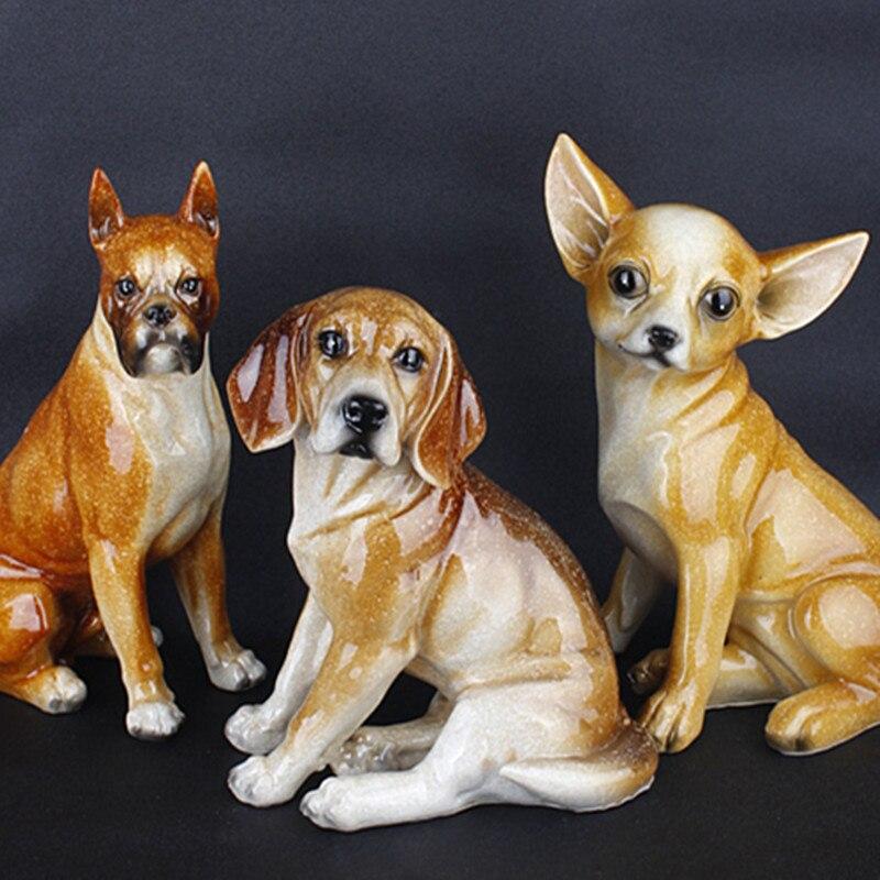 Small Dog Elegant Cute Chihuahua Beagle Boxer Dog Creative Personality Chihuahua Dog Resin Dog Table Ornament Figurine Best Gift собаки керамические