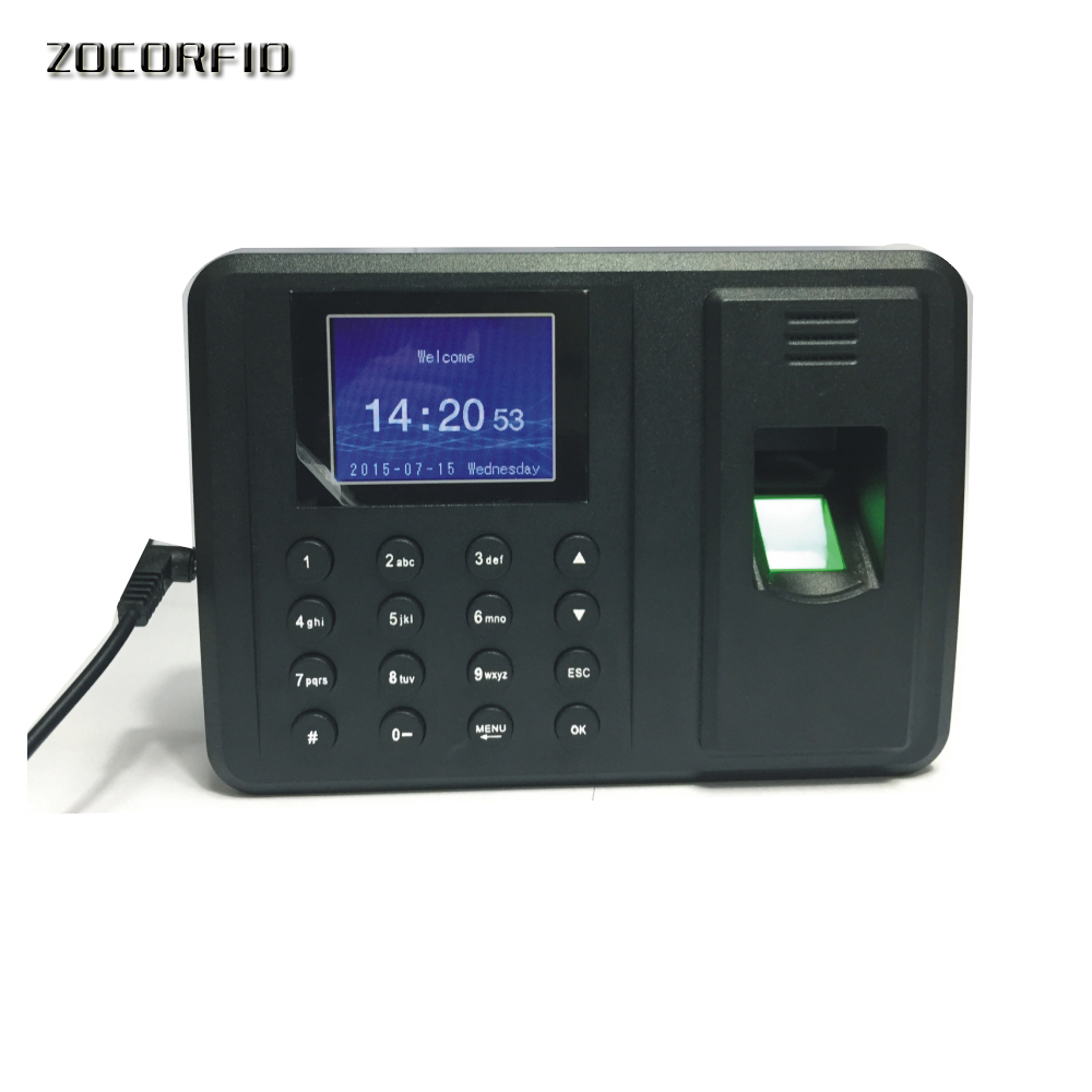 USB Biometric Fingerprint Time Attendance Clock Recorder Employee Digital Electronic English  Voice Reader Machine
