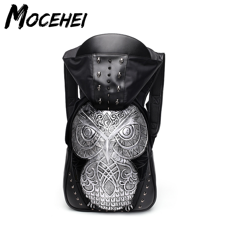 Black Backpack Men Women Cool Moto 3D Metal Owl PU Leather Rivet Hooded Bags QL031 pu leather owl choker