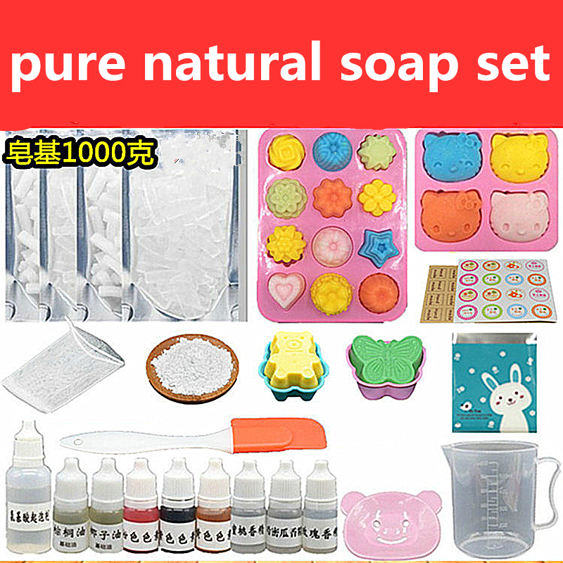 14 Sets Breast Milk Handmade SoapDIY Handmade Soap Materials Package 1KG Soap Base Natural Soap Mold Tooling Material Set