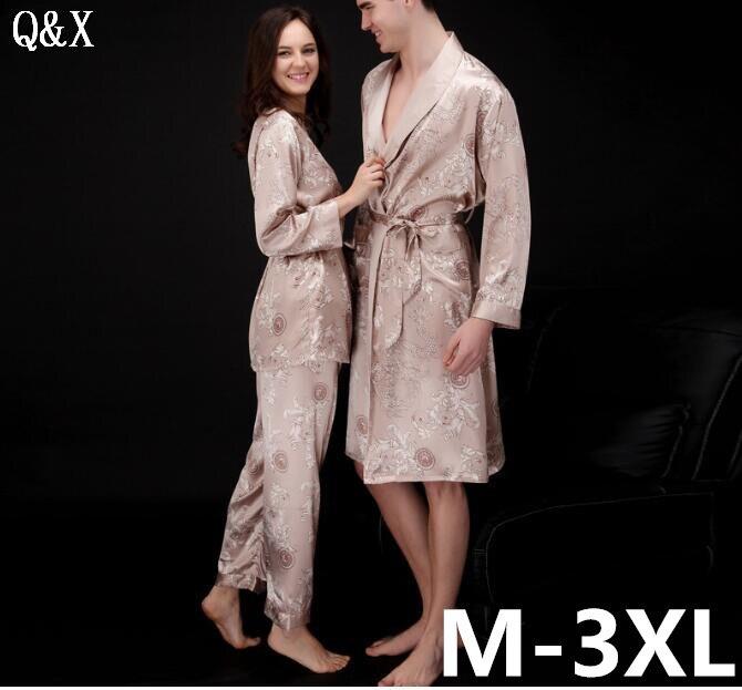 YT4 2018 Jarní a podzimní dámská pyžama sada sexy dlouhý rukáv umělé hedvábí na spaní pár pyžamů milence ženy 3 kusy noční šaty