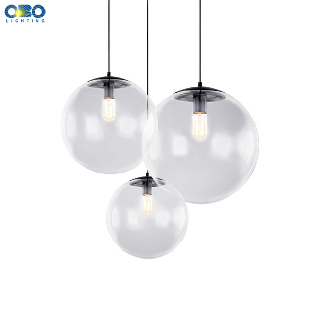 Glass Pendant Lamp E27 Parlor/Dining Room/Bedroom Modern Lighting Vintage Cord Pendant Lights LED Transparent Glass Ball