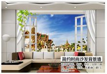 Custom 3d photo wallpaper 3d wall murals wallpaper 3d landscape architecture windows window TV backdrop 3d wallpaper living room(China)