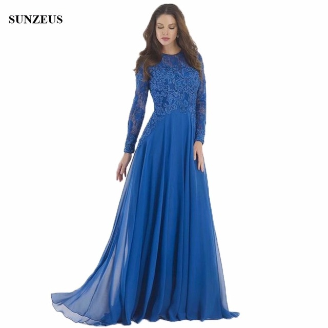 Lace Long Sleeve Mother of The Bride Dresses With Appliques Beads Long Blue Chiffon Wedding Party Gowns Groom Mother Dress