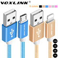 Voxlink 1 m/2 m/3 m de nylon trenzado micro usb cable de carga de sincronización de datos usb cable para iphone 7 6 6 s plus 5S ipad mini samsung htc lg