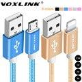 Voxlink 1 m/2 m/3 m nylon trançado cabo micro usb cabo de carregamento de dados usb sync para iphone 7 6 6 s plus 5S ipad mini samsung htc lg