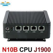 Причастником NUC безвентиляторный Мини-ПК с J1900 4 ядра 4 * lan Окна HTPC WiFi ТВ коробка VGA HDMI