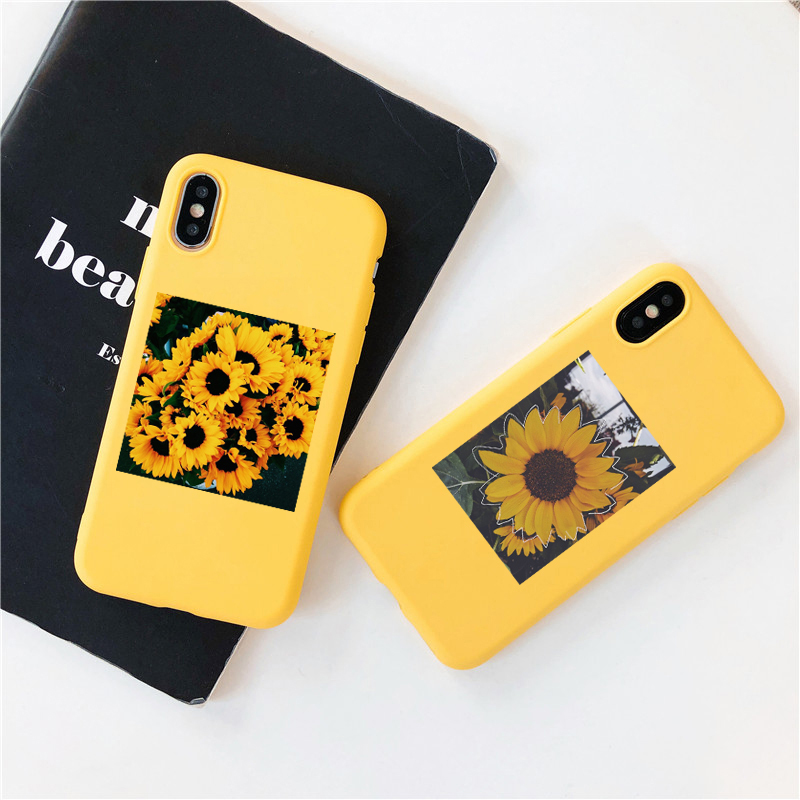 For <font><b>iphone</b></font> x xs <font><b>case</b></font> <font><b>Yellow</b></font> Sunflower Soft silicone <font><b>Phone</b></font> <font><b>Case</b></font> Cover for <font><b>iPhone</b></font> 11 pro max 8 7 6 <font><b>6S</b></font> Plus X XS MAX 5 5S XR Cover image