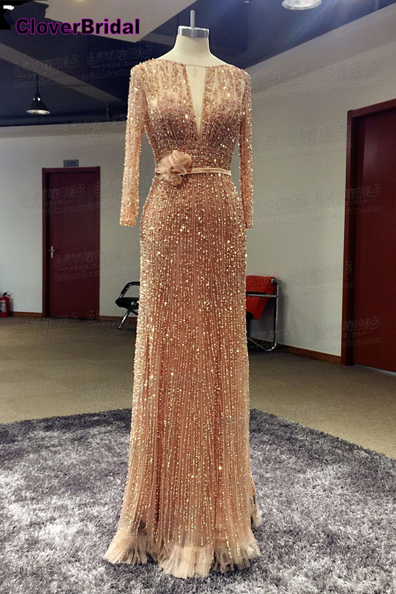 CloverBridal High quality slim low back luxury hande-made elie saab nude   evening     dress   crystals beading long floor length