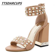 TTSDARCUPS New summer Open toe Ankle strap High heel sandals Big code sexy night shop rivet shoes Fashion banquet 34-40