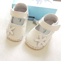 2014 0 2Y CD12 White Flower Patchwork Genuine Leather Baby Girls Shoes Kids First Walkers Spring