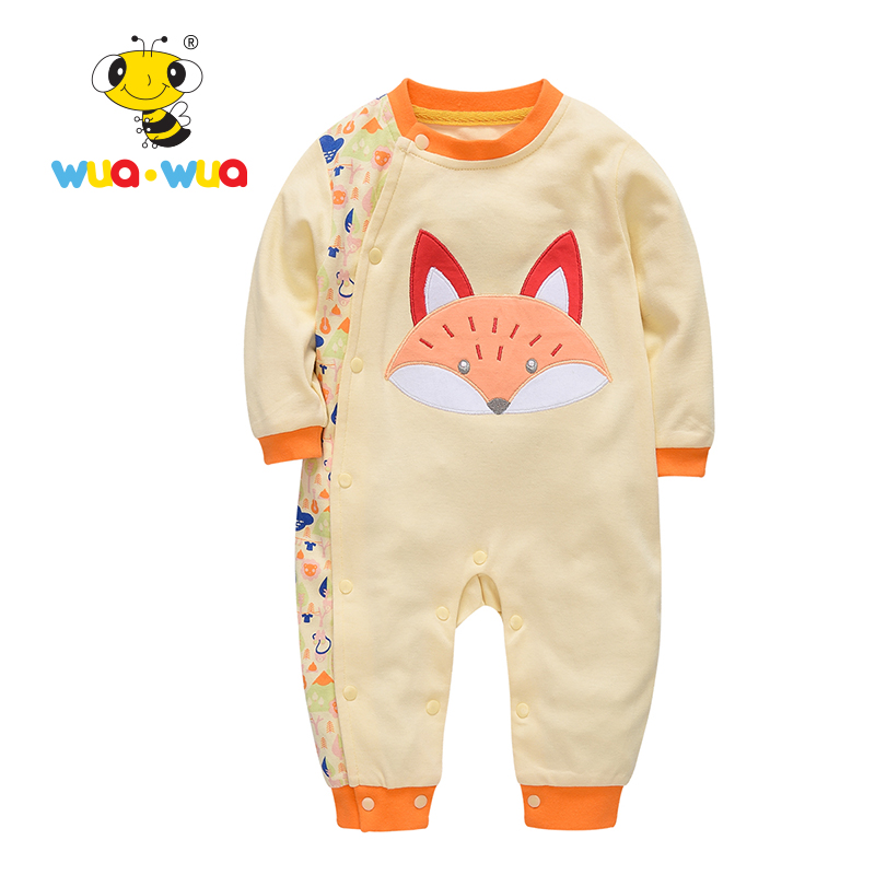 Baby girl Clothing baby Romper clothes Newborn Cotton Cloth jumpsuit full Sleeve o-neck happy fox print yellow Wua wua AT17119 puseky 2017 infant romper baby boys girls jumpsuit newborn bebe clothing hooded toddler baby clothes cute panda romper costumes