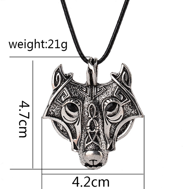 Norse Vikings Pendant Necklace Norse Wolf Head Necklace Original Animal Jewelry Wolf Head hange  XL008