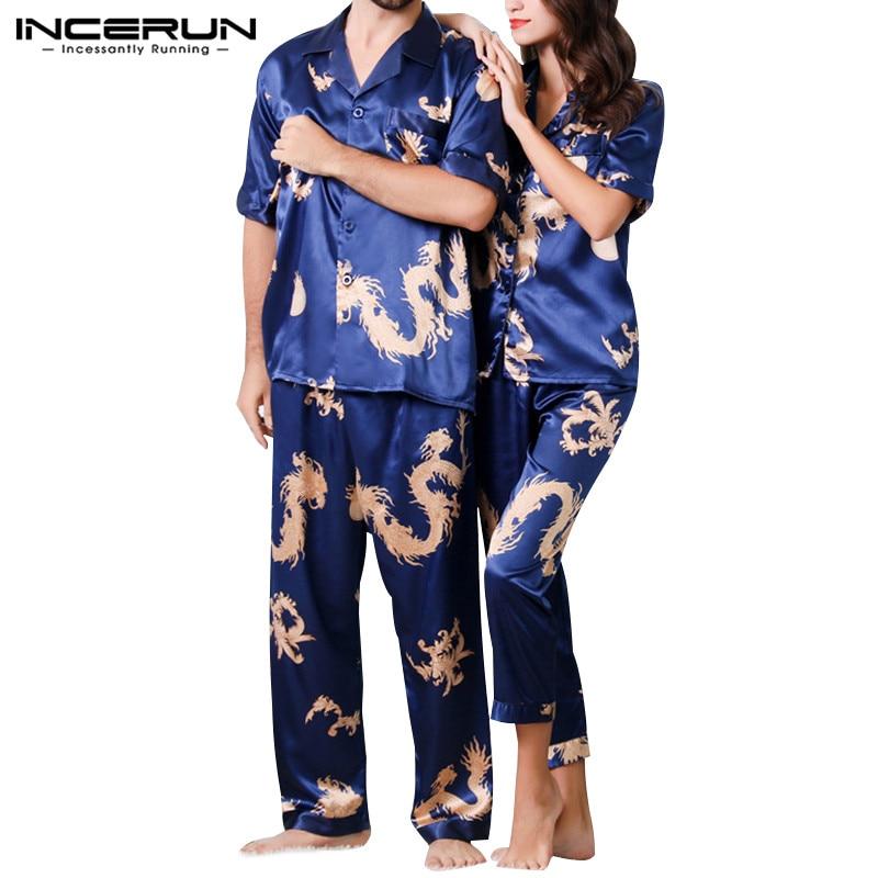 INCERUN Pants Sleepwear-Sets Pajamas-Set Nightgown Short-Sleeve Satin Silk Summer Print
