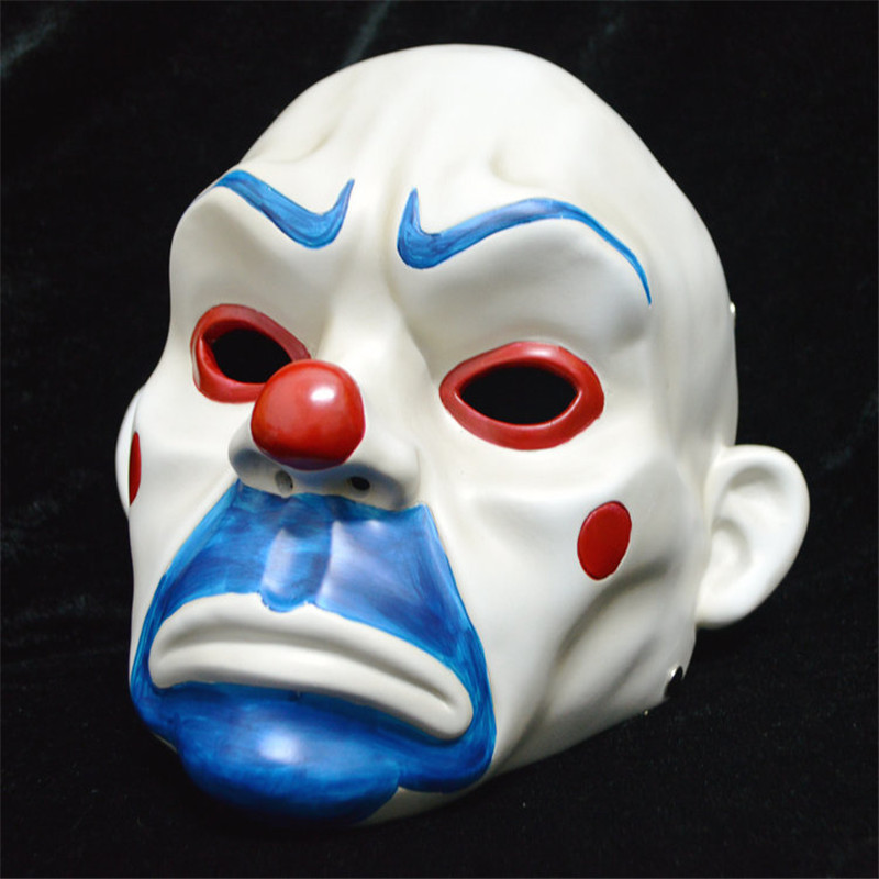 Hot Selling Batman Film Joker Clown Mask Bank Robber Masque Resin Masks For Adult Full Face
