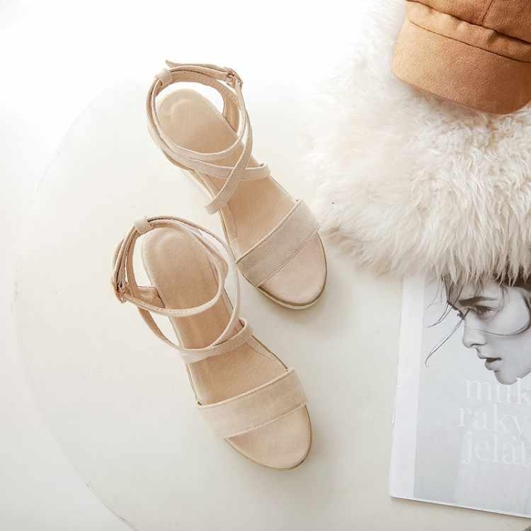 Size Lớn 9 10 11 12 Giày đế xuồng nữ giày nữ giày nữ người phụ nữ nữ mùa hè Dây nêm và nền tảng móc khóa với vạch Trần