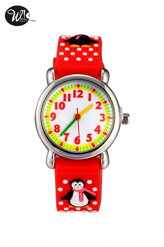3D Children Boys And Girls Gifts Quartz Watch Penguin Cartoon Watch Pointer Cute Child Learning Time Watch
