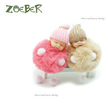 ZOEBER fur ball Doll Keychain Sleeping Baby foot and hand doll Pompom Rabbit Fur Key Chain Car Keyring Key Holder Charm jewelry