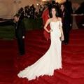 Ashley Greene de Blanco Elegante Vestidos de La Celebridad Alfombra roja de La Sirena del Tren Largo Vestido de Noche Formal Vestido de Fiesta de Gasa vestido longo