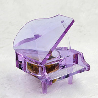 Pretty Purple Crystal Piano Music Box Glass Miniatures for Birthday Gifts Home Decoration Hot Sales