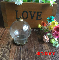 300sets/lot 30x20mm glass globe & crown base & cap finding set glass globes set glass vial pendant glass cover Jewelry Accessory