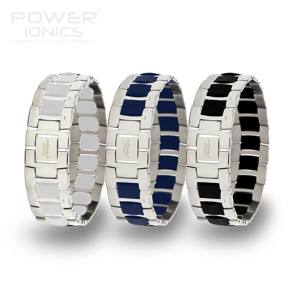 Power Ionics Fashion Black/Blue/White Unisex Titanium Ion Health Bracelet Wristband PT060