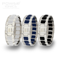 Power Ionics Fashion Black/Blue/White Unisex Titanium Ion Health Bracelet Wristband PT060