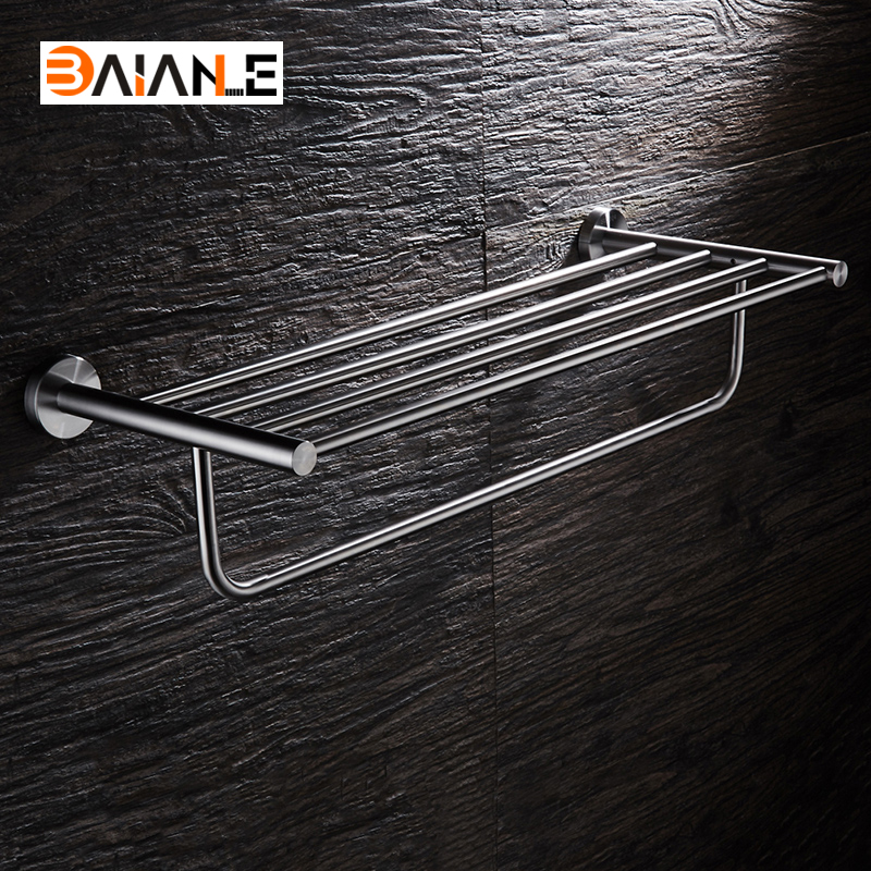 Towel Rack Stainless Steel Holder Bath Shelf Towel Hanger Wall Mounted Bathroom Accessories Towel Bars nail free foldable antique brass bath towel rack active bathroom towel holder double towel shelf with hooks bathroom accessories