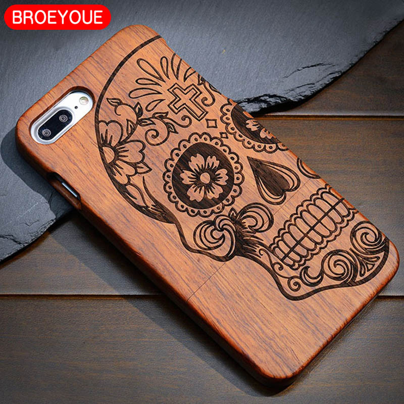 BROEYOUE Wood Case For iPhone X 8 7 6 6S 5 5S SE Plus 100% Natural Luxury Bamboo Wooden Carving Design Mobile Phone Cases Cover