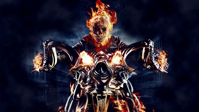 New Design Hell Ride Devil On Motorcycle Demon Knight In Fire