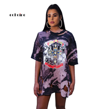 цена на Echoine Women Dress Fashion Skull Digital Print Tie-Dye Sexy Hole Casual Loose T-shirt Style Outdoor Female Charming Vestidos