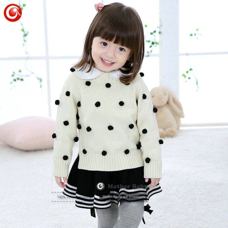 Kids Tinny Cotton Boys Sweater Children Pullover Cardigan Coat For Girls Baby Long Sleeve Knitwear Christmas Clothes With Balls (27)
