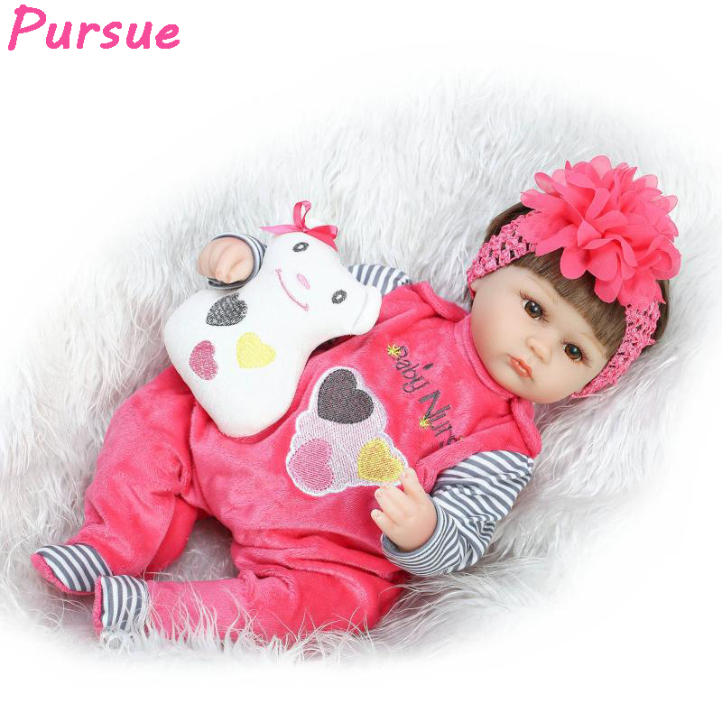 Pursue 17inch 45cm Reborn Babies Doll Toys for Girls Silicone Reborn Baby Dolls American Girl Doll Brown Blue bebes reborns 18 inch dolls handmade bjd doll reborn babies toys for girls 45cm jointed plastic toy dolls for wedding valentine s day gifts