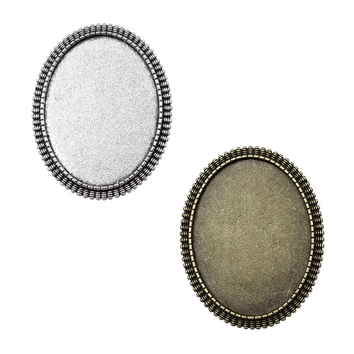 Fit 30x40mm Antique Silver Cameo/Glass/Cabochon Frame Bezel Settings,Brooch,DIY Accessory Base Charm 3pcs/lot K04639