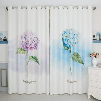 Custom Made 2pc Grommet Window Draperies Curtain Nursery Kids Children Room Window Dressing 200 x 260cm Blue Purple Floral