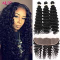 Deep Wave Brazilian Hair With Ear To Ear Lace Front Ali Moda Hair 3Bundles Deep Wave With Frontal Closure Curly Weave Human Hair