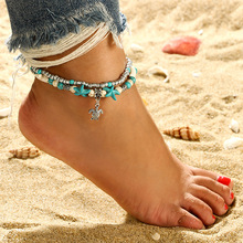 Bohemian Turtle Beach Green ston Pendant Anklet Double Conch Starfish Alloy Leg Chain Bracelet Femal