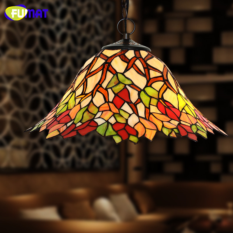 FUMAT Stained Glass Pendant Lights Pastoral Creative Tiffany Art Maple Leaf Lamps Living Room Restaurant Kitchen Pendant Lamp fumat stained glass pendant lights garden art lamp dinner room restaurant suspension lamp orchids rose grape glass lamp lighting