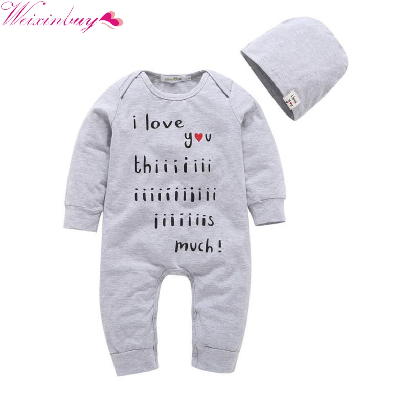 2017 Newborn Infant Baby Boys Girls Clothing Set 2 PCS Full Sleeve Romper One-piece Tops Jumpsuit + Hat Gray