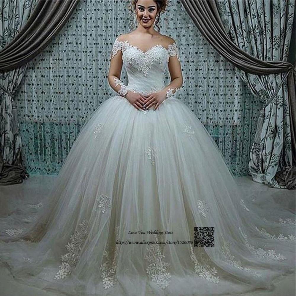 Elegant Wedding Gowns With Sleeves: Princess Long Sleeve Lace Wedding Dresses Puffy Ball Gown
