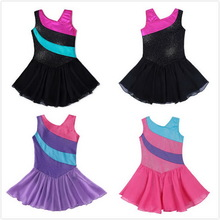 Vestito Balletto Dancewear Ginnastica Body Girls Tulle Gonne Senza maniche Arcobaleno Stripe Shiny Sparkle Ribbon Tutu Dress Costumes