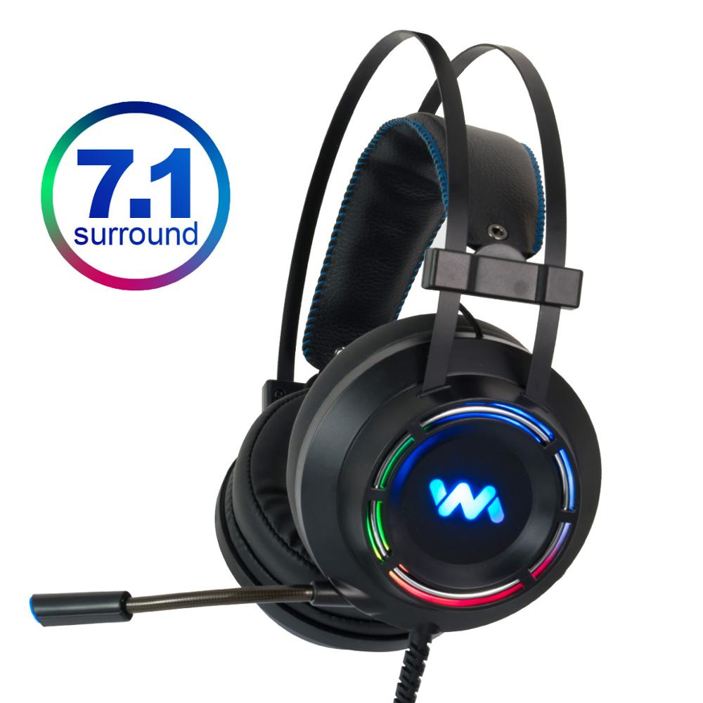 7.1 Gaming Headset Headphones with Microphone for PC Computer for Xbox One Professional Gamer Surround Sound RGB Light image